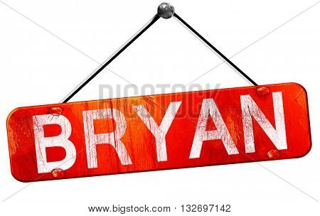 bryan, 3D rendering, a red hanging sign