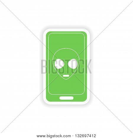 paper sticker on white background   mobile phone alien