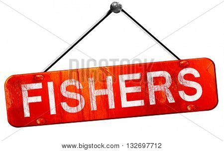 fishers, 3D rendering, a red hanging sign