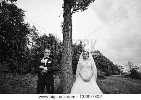 Young Fashion Wedding Couple Standing On Opposite Sides Near The Tree, B&w Photo