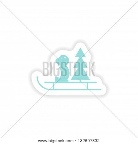 paper sticker on white background  Bear sled tree