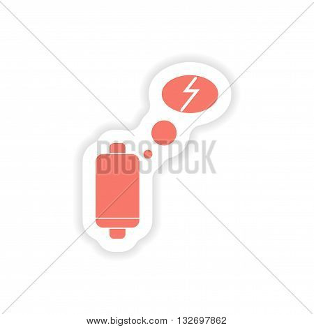 paper sticker on white background  mobile battery is low