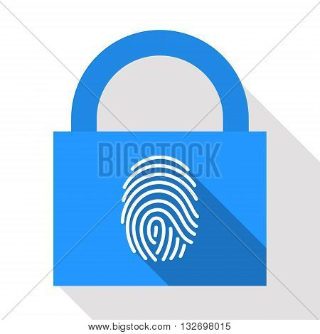 Stylized fingerprint on lock background. Authorized access. Secure password concept