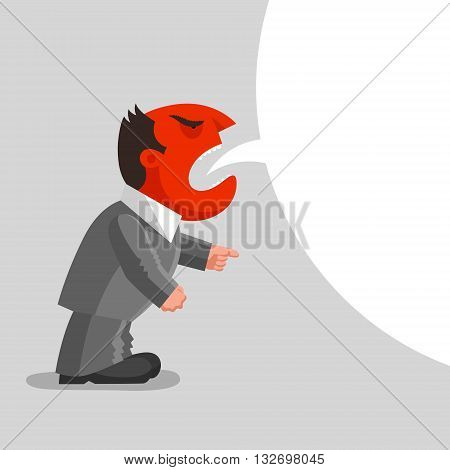 Angry man with red head is shouting one hand is in fist another is in pointing gesture. Enraged boss concept
