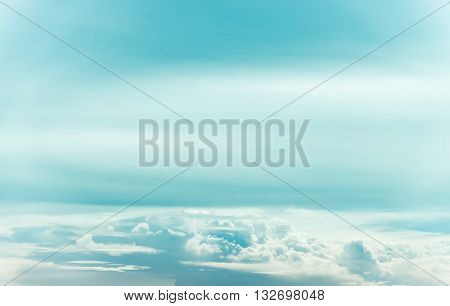 Beautiful white cloud in the sky in summer on sunny day cyan tone