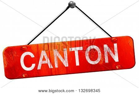 canton, 3D rendering, a red hanging sign
