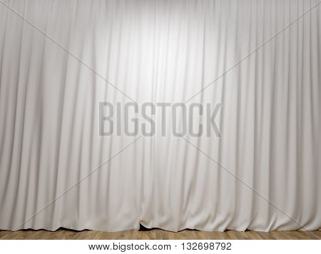 Stage with closed white curtains and wooden floor. Mock up 3D Rendering