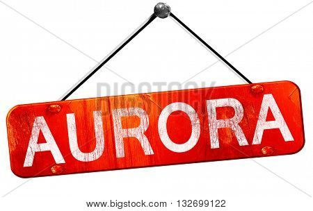 aurora, 3D rendering, a red hanging sign