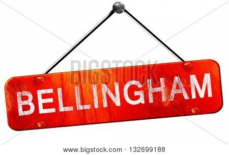 bellingham, 3D rendering, a red hanging sign