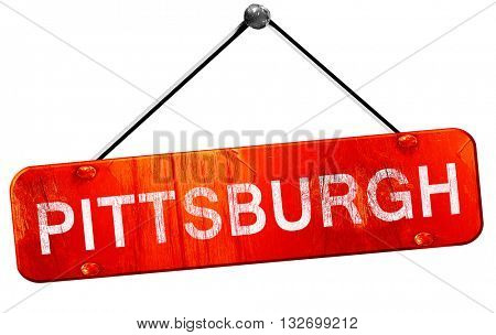 pittsburgh, 3D rendering, a red hanging sign