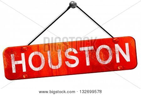 houston, 3D rendering, a red hanging sign