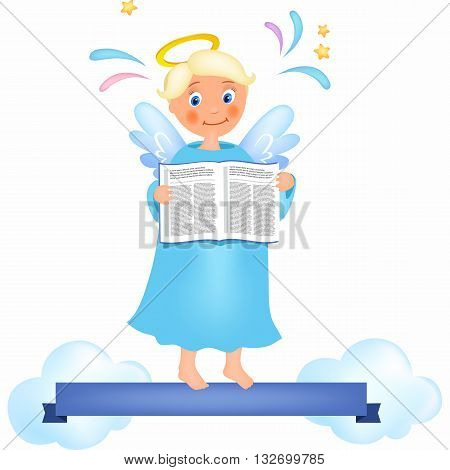 Angel on heaven near clouds with book