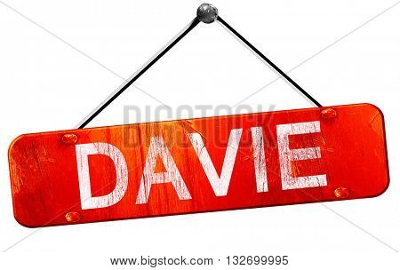 davie, 3D rendering, a red hanging sign