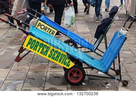 Porter service for hire in Venice near San Markus Square