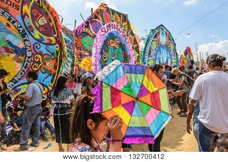 Sumpango Guatemala - November 1 2015: Visitors at giant kite festival on All Saints' Day to honor spirits of dead.