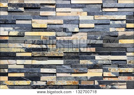 modern black slab ,slat stone wall background / black stone