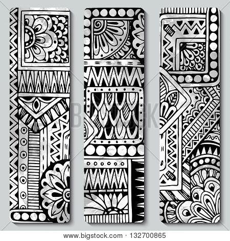 Abstract vector hand drawn ethnic pattern card set. Series of image Template frame design for card. Black and white.