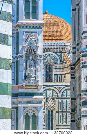 Architecture details of famous duomo cathedral in Florence Italy.