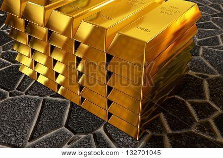 rendered goldbars stack on the paving sidewalk, 3d rendering