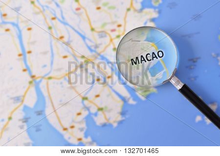 Consultation With Magnifying Glass Map Of Macao