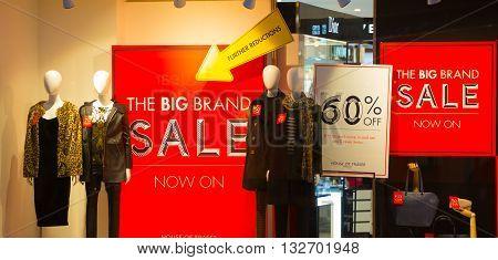 LONDON, UK - DECEMBER 30, 2015:  Sale window display at Oxford street department store