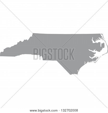 map of the U.S. state of North Carolina vector