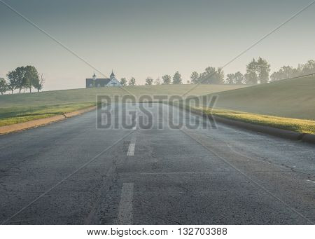 Foggy Road in rural Kentucky on a foggy morning