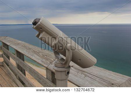 Binoculars at a overlook on Pierce Stocking Scenic Drive, Sleeping Bear Dunes National Lakeshore, Michigan