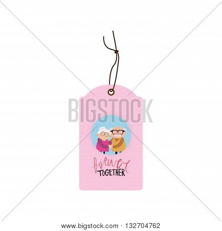abstract happy grandparents tags with some special objects