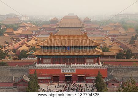 Roofs of the Forbidden city in Beijing, China.