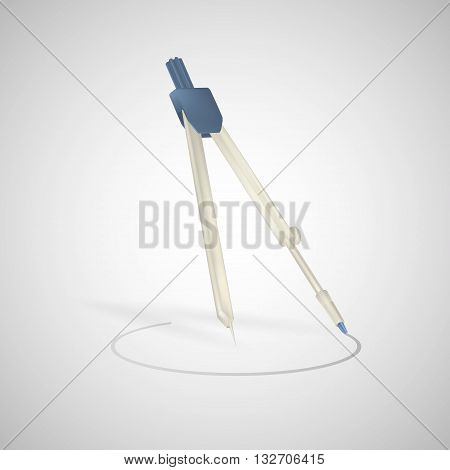 Drawing compass vector icon isolated on white background. Drawing compass. Realistic vector illustration.