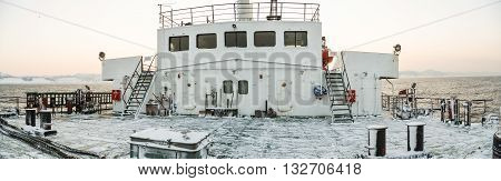 Vanino RUSSIA on 9 January 2014 : the deck of the ferry to Sakhalin in the winter early in the morning