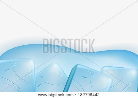 Ice cubes background. Ice cubes and melted ice cube vector set on white background. Ice cube on water surface.