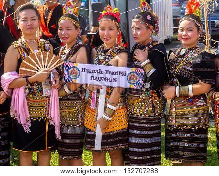 Penampang,Sabah-May 30,2016:Happy girls from Rungus ethnicity in their traditional costume during Sabah Harvest festival celebration in Kota Kinabalu, Sabah Borneo, Malaysia.