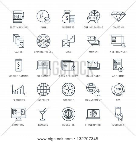 Set vector line icons with open path online gaming casino slot machine and slots mobile gaming with elements for mobile concepts and web apps. Collection modern infographic logo and pictogram