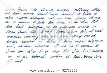 Calligraphic handwritten letter. Latin text Lorem ipsum. Handwriting. Manuscript. Script. Font. Abstract texture background