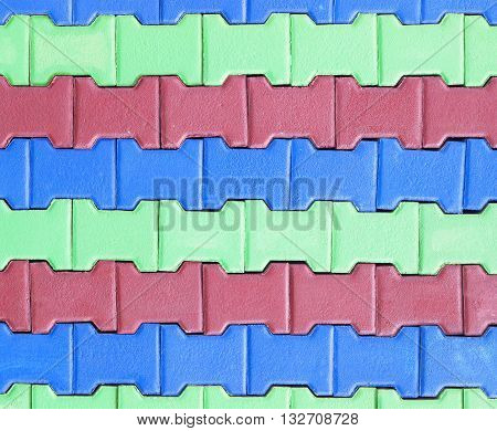 colorful of Paving blocks background.  Paving Hexagon brick walkway ;The pattern of stone block paving
