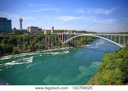 Rainbow Bridge at Niagara Falls from the observation deck.