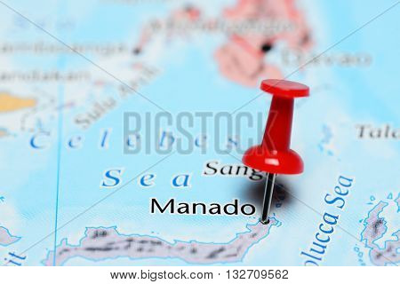 Manado pinned on a map of Indonesia