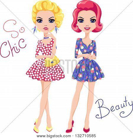 Cute beautiful Pop Art girls in dress. T-shirt Graphics. Girl print.