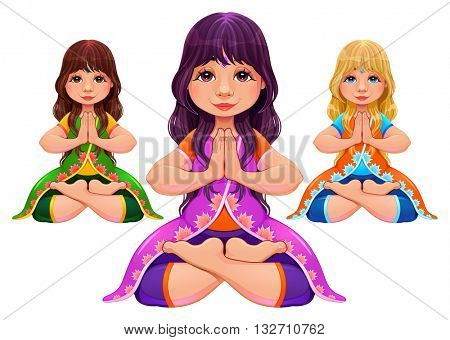 Yoga Lotus position. Cartoon vector isolated cartoon characters in different hair and dress colors.