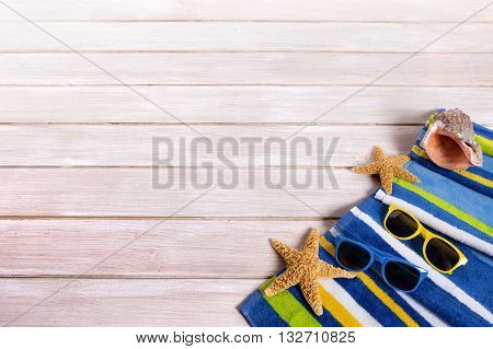 Summer beach deck background border sunglasses star fish copy space