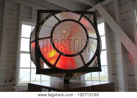 A lighthouse lens in Sleeping Bear Dunes National Lakeshore, Michigan.