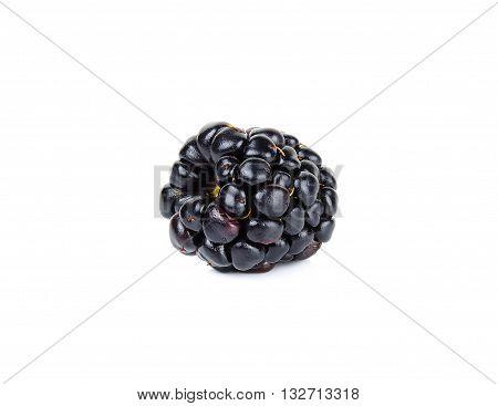 Single Fresh Blackberry Isolated On White