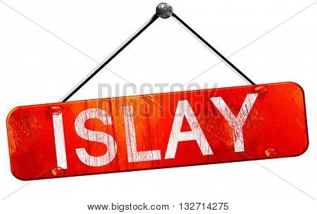 Islay, 3D rendering, a red hanging sign