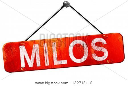 Milos, 3D rendering, a red hanging sign