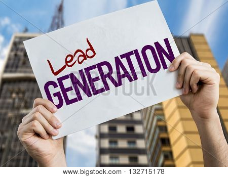 Lead Generation placard with urban background