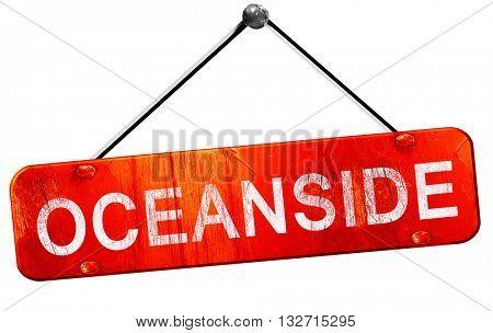 oceanside, 3D rendering, a red hanging sign