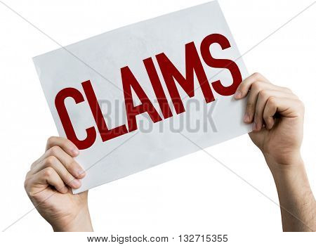 Claims placard isolated on white background