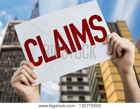 Claims placard with urban background